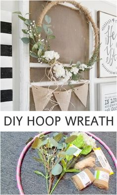 "DIY Hoop Wreath, Home Decor, Hello! Have you spotted these ""hoop wreaths"" popping up all over the internet and around town? I started noticing them last year, when some of my . Home Decor Store, Cheap Home Decor, Diy Home Decor, Home Craft Ideas, Homemade Home Decor, Home Decor Accessories, Decorative Accessories, Diys, Deco Floral"