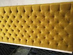 Custom Tufted Mustard Yellow Velvet Headboard from Barnes Custom Upholstery in High Point, NC
