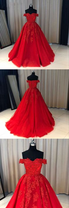 Fabric:Tulle Color:Red Neckline:Off The Shoulder Train: Sweep Train Back Detail: Zipper Back Style: Ball Gown Embellishments:Bra , Lace Appliques Processing time: 7 working days Shipping time:4-5 working days