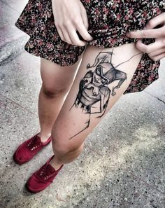 Rogue Tattoo Thigh  - http://tattootodesign.com/rogue-tattoo-thigh/  |  #Tattoo, #Tattooed, #Tattoos