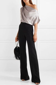 Mason - One-shoulder draped silk-charmeuse top Michelle Mason Look Fashion, Fashion Outfits, Womens Fashion, Classy Outfits, Cool Outfits, Top Chic, One Shoulder Tops, One Shoulder Shirt, Silk Charmeuse