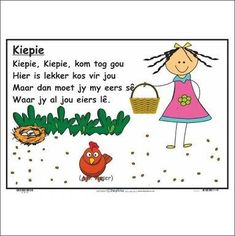 Preschool Poems, Preschool Worksheets, Preschool Learning, Preschool Activities, 2nd Grade Spelling Words, Animals Name In English, Grade R Worksheets, Nursery Rymes, Afrikaans Language