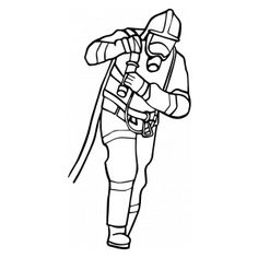 busy firefighter coloring pages | Firefighter with a helmet, mask and ax ready for action ...