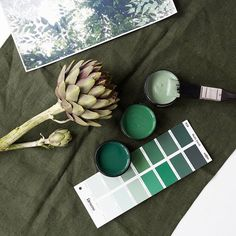 Autumn greens to get you in the mood. Testpots from top in Resene Gondwana, Resene Goblin and Resene Palm Green. Art print from Inspirational Wallpapers, Green Art, Goblin, Paint Colors, Palm, Autumn, Colour, Art Prints, Photo And Video