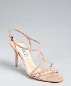 Prada nude suede strappy sandals | BLUEFLY up to 70% off designer brands