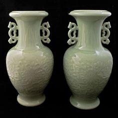 Pair of matching 19th century Chinese celadon porcelain vases with Chienlong reign marks $6000