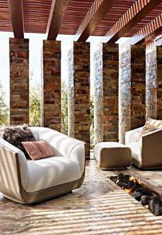 High fashion hits the terrace. Modern Outdoor Living, Outdoor Living Areas, Outdoor Rooms, Outdoor Decor, Door Arbor, Design Reference, Yard Ideas, Porches, Terrace
