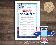 Instant Download Airplane Word Scramble Baby Shower Game by Studio20Designs. Comes with a MASTER answer sheet. Guests are timed as they unscramble the baby-related words. The first to correctly complete the list wins!