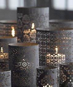 Wrap pre-punched paper around a glass votive for an ornate candle holder.