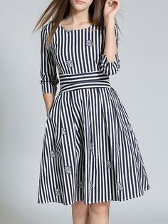 Shop Navy White Striped A-Line Dress online. SheIn offers Navy White Striped A-Line Dress & more to fit your fashionable needs. Modest Dresses, Simple Dresses, Day Dresses, Dress Outfits, Casual Dresses, Short Dresses, Frock Fashion, Hijab Fashion, Fashion Dresses