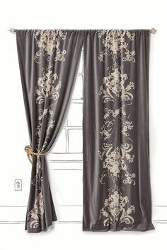 velvet flocked curtains,  I can never make curtains look right.