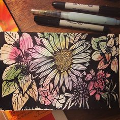 Flower practice #alisaburkeclass by ellen_g_king, via Flickr Alisa Burke, Project Ideas, Projects, Art Journaling, Journals, College, King, Flowers, How To Make