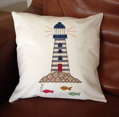 Applique Cushion with Lighthouse design by PoojiTextiles on Etsy Kissen Items similar to Applique - Pillow Art Sewing Appliques, Applique Patterns, Applique Designs, Freehand Machine Embroidery, Free Motion Embroidery, Fabric Cards, Fabric Tape, Cotton Fabric, Applique Cushions