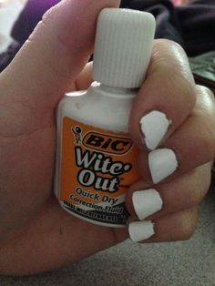 Giving yourself a nice Wite-Out manicure, only to have it completely chip within the first hour (to be fair, it wasn't nail polish): 35 Struggles From The Late That Women Now Between The Ages Of Used To Have Popsugar, Wite Out, Correction Fluid, Hair Mascara, Body Glitter, Girls Life, Body Spray, How To Do Nails, You Nailed It