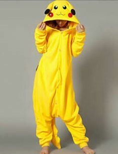 Kigurumi Pajamas Pika Pika Leotard/Onesie Festival/Holiday Animal Sleepwear Halloween Yellow Patchwork Polar Fleece Kigurumi For Unisex Cute Onesies, Cute Pjs, Cute Pajamas, Pyjama Kigurumi, Pikachu Costume, Pijamas Onesie, Onesie Pajamas, Lazy Day Outfits, Teen Fashion