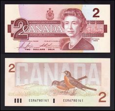 One and two dollars bills Canadian Things, I Am Canadian, Canadian History, 2 Dollar Bill, One Dollar, Dollar Coin, Money Notes, Canadian Dollar, Coins Worth Money