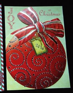 Christmas Card  - 2016 Red Christmas Ball Ornament with Big Bow