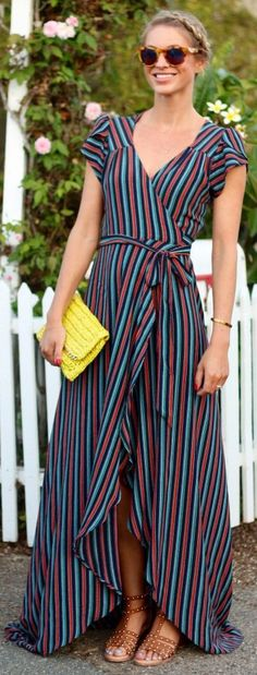 Stripe And Wrap Maxi Dress Outfit Idea by Ash N' Fashn