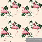 Designer Upholstery Curtain Fabric Flamingo Linen Cotton Tropical Palm Tree
