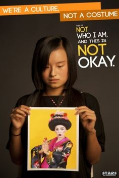 A young, unsmiling, Asian woman looks down at a picture of a white person dressed as a stereotypical Geisha. The poster reads We're a culture, not a costume. This is Cultural appropriation because people are making a costume out of a very strong culture Apropiación Cultural, Cultural Diversity, Cultural Competence, Cultural Appropriation, Asian American, Native American, Anti Racism, Student Teaching, Teaching Ideas