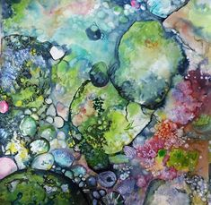 Ann Dunbar. Study of life in a rockpool NSW. Watercolour and embroidery on paper stretched on to canvas.
