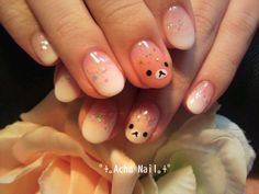Sparkly Gradient Rilakkuma Nails.  Preferably Without the Rilakkuma on middle nail but in love with the rest!