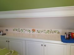 Hand painted border in progress in an attic bonus room above built-ins. http://www.houzz.com/pro/creativepaintinganddesign