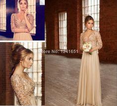 Vestidos De Festa Longo Sexy Beautiful Long Prom Dresses 2014 New Arrival Deep V-neck 3/4 Sleeves Beaded Chiffon Evening Dresses US $189.00