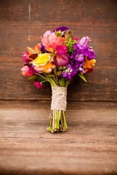 Orange and Purple Wedding Bouquet | Stephen Gosling Photography