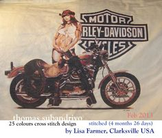 """Harley davidson cross stitch in 25 DMC colours design by Thomas Subandriyo stitiched perfectly by Lisa Farmer, Clarksville, TN (USA). She did this picture for her husband Danny who loves Harley's. She said """"This was a fabulous picture to cross stitch and would like to do another similar to it."""" great thanks to Lisa 4 months 26 days"""