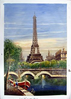"""24"""" by 36"""" - Paris scene - Nr.25 - Museum Quality Oil Painting on Canvas Art by Artseasy on Etsy"""