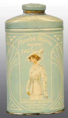 Phoebe Snow Talc Tin.  Rare tin with a great image of an Art Nouveau Style woman on the front.