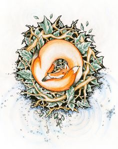 sleeping fox by Sergey Avdaschinkov, via Behance