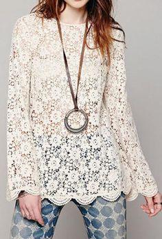 $37.00 - Stylish Scoop Collar Long Sleeve Lace Women's Blouse