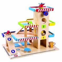 Janod Garage from The Toy Centre UK - wooden toy garage #woodentoys