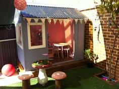Cubby House decorated for a garden party