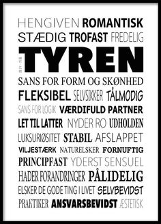 Tyren Plakat - Tekstcollage med stikord Fact Quotes, Wise Quotes, Quote Posters, Quote Prints, Wall Decor Quotes, Some Words, Viera, Good To Know, Zodiac Signs
