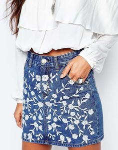 Image 3 of Glamorous Denim Skirt With Floral Embroidery                                                                                                                                                                                 More