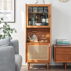 Ikea Bar Cabinet, Corner Bar Cabinet, China Cabinet, Rattan, Natural Cabinets, Armoire D'angle, Dresser Refinish, Contemporary Decor, Wood Colors