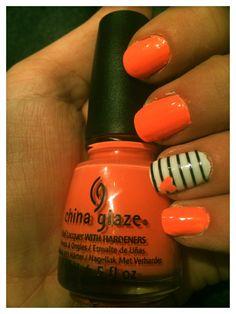 Bored on a Tuesday night... #stripes #nailart #orangenails #neonnails #naildesign #chinaglaze #flipflopfantasy