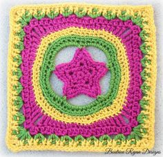 This Whimsical Crocheted Granny Square is fun to make and easy to whip up!!  You can use many color combinations to achieve a variety of looks too!!  Add it to any Sampler afghan or make several up...