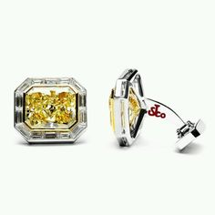21 Karats of Canary Yellow Diamonds Cufflinks