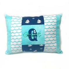 Appliqued Initial & Embroidered Name Pillow
