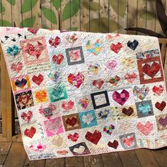 Sharing one of my most special treasures. This heart quilt that was a gift to me in Makes my heart happy. Thank you to my special friends. Girls Quilts, Baby Quilts, Heart Quilts, Sampler Quilts, Scrappy Quilts, Quilting Projects, Sewing Projects, Quilting Ideas, Yo Yo Quilt
