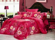US$99.99 Festival Red Floral Printed 4 Piece Whole Cotton Wedding Bedding Sets. #Modern #Wedding #Bedding #Sets