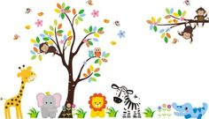 "Baby Nursery Wall Decals Safari Jungle Children's Themed 83"" X 97"" (Inches) Animals Trees Wildlife: Repositionable Removable Reusable Wall Art: Better than vinyl wall decals: Superior Material Nursery Wall Decals http://www.amazon.com/dp/B00DFFA6QU/ref=cm_sw_r_pi_dp_FoQUvb07N1G1N"