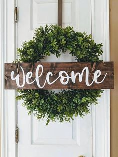 Welcome sign | Wreath sign | Farmhouse sign | Hanging Wooden Sign | Front Door Sign | Front Porch Sign | Hanging Door Sign | Southern Decor  #welcome #frontdoor #wreath #rusticsign #signs #giftideas #rusticdecor #clock #farmhouse #sign #rustic #homedecor #diy #affiliate