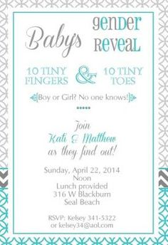 Modern Teal & Gray Baby Gender Reveal Invitation-available in any color From Little Angel Announcements