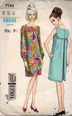 Vogue Special Design 7144 Womens Square Neck Evening Shift Dress 60s Vintage Sewing Pattern Size 14 Bust 34 inches
