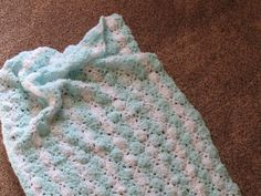 Baby Afghan or Blanket Made With Soft White and Green by lchinault, $18.00
